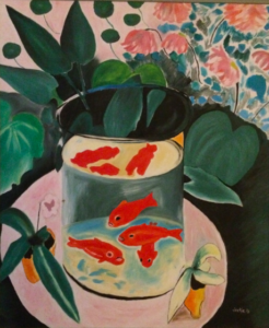 Painted by Jackie Silver, copy of Matisse's The Goldfish (1912).
